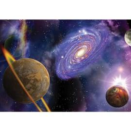Fotobehang poster 0905 hemel planeten melkweg galaxy sterren paars