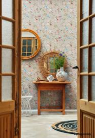 Eijffinger Pip 4 375001 landelijk/beige/vogels/libelle/vlinder/bloemen