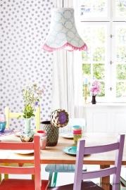 Eijffinger Rice 359063 stippen dots paars glitter wit achtergrond