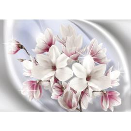 Fotobehang poster 0879 bloemen wit roze blauw ster planten