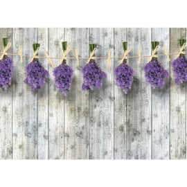 Fotobehang poster 1352 hout grijs bloemen paars lavendel