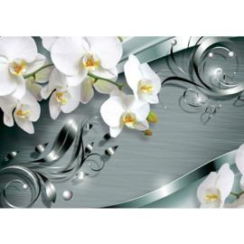 Fotobehang poster 0606 orchidee wit patroon grijs blauw