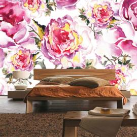 Fotobehang poster 0527 bloemen rozen getekend schilderij