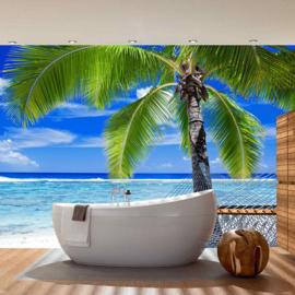 Fotobehang poster 1444 strand zee golven hangmat