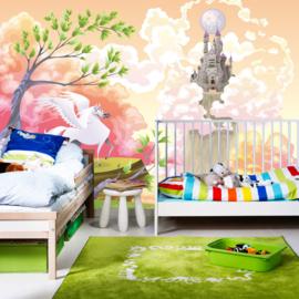 Fotobehang poster 0086 kinderkamer prinses meisje unicorn paard kasteel roze