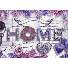 Fotobehang poster 1774 hout planken grijs bloemen home roze paars
