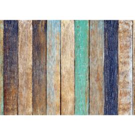 Fotobehang poster 2114 hout planken blauw bruin