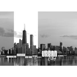 Fotobehang poster 0281 usa urban city skyline tekst steden