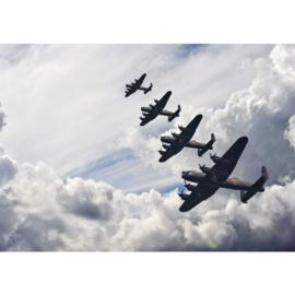 Fotobehang poster 2576 jacht vliegtuig wolken