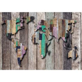 Fotobehang poster 2036 hout wereldkaart bruin planken