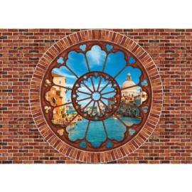 Fotobehang 1359 raam stenen muur Italie Venetie