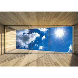 Fotobehang poster 1767 kamer raam zon wolken lucht hemel blauw