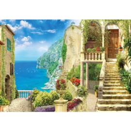 Fotobehang poster 4534 trappen toscane uitzicht