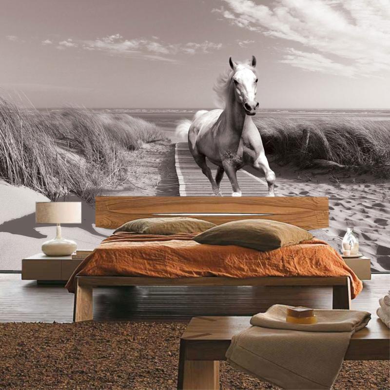 Fotobehang poster 2037 dieren paarden strand steiger zee duinen