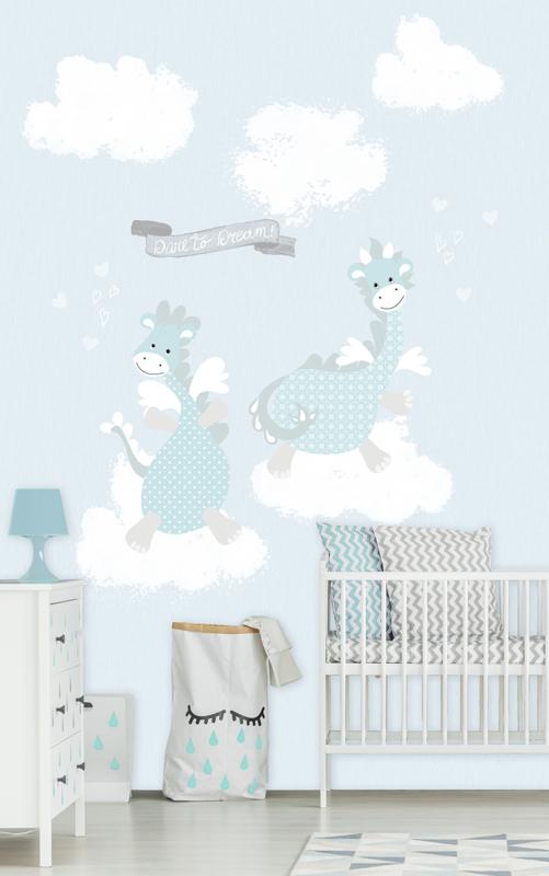 Kay & Liv ink7024 draken blauw wolken