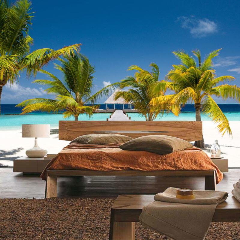 Fotobehang poster 0165 steiger op het strand met palmbomen aan zee