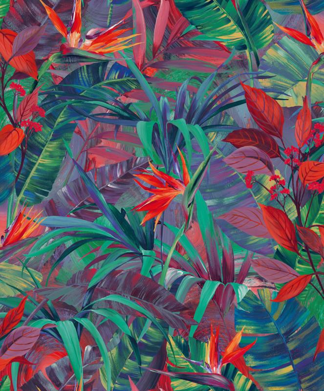 Jungle Fever Dutch jf2301 bladeren oranje roze groen blauw