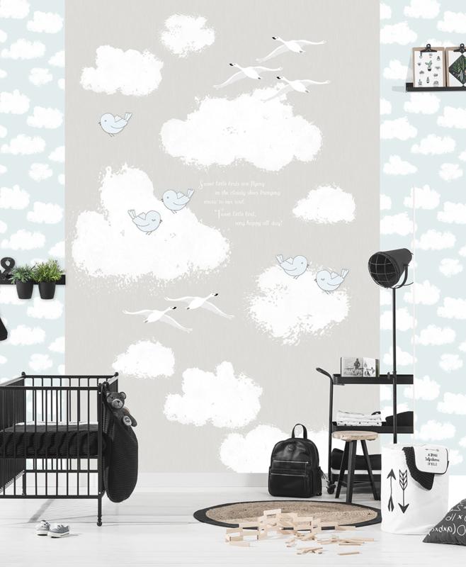 Kay & Liv ink7023 wolken vogels ganzen grijs