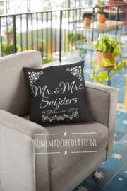 Mr Mrs met naam en datum bloemen