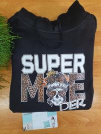 Supermoeder  Hoodie met skull zwart