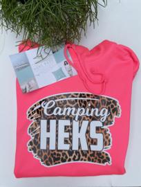 Camping heks  hoodie neon roze
