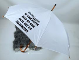 paraplu voetbalvrouw