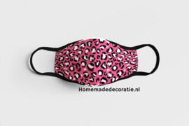 Mondkapje  kinder leopard roze