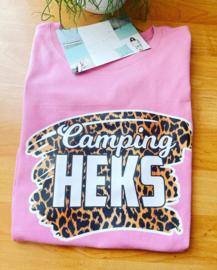 Camping heks tijger tshirt roze