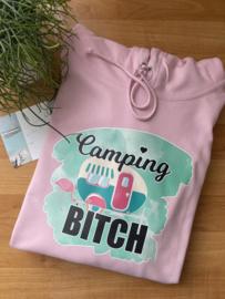 Camping bitch   hoodie roze