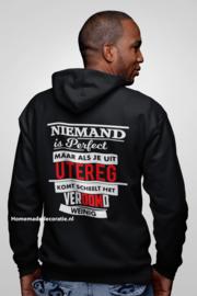 Niemand is perfect utereg hoodie