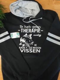 Karper hoodie Therapie vissen luxe zwart