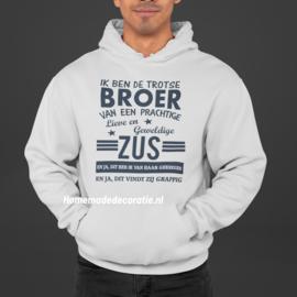 Broer zus hoodie grijs