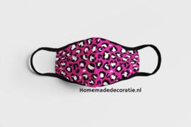 Mondkapje leopard roze