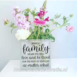 Vaas met tekst familie