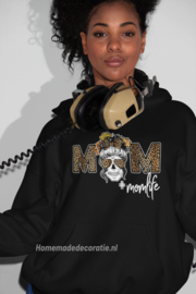 Momlife Hoodie met skull zwart