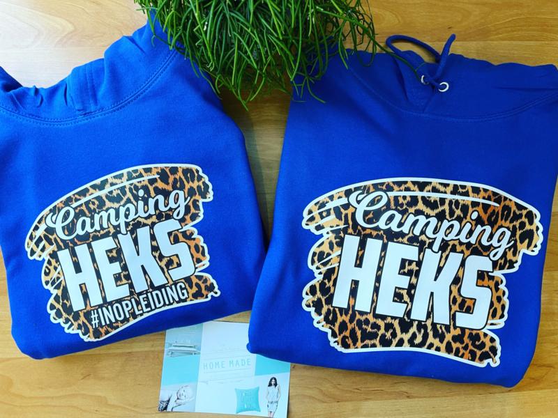 Camping heks moeder dochter set  hoodie tijger blauw