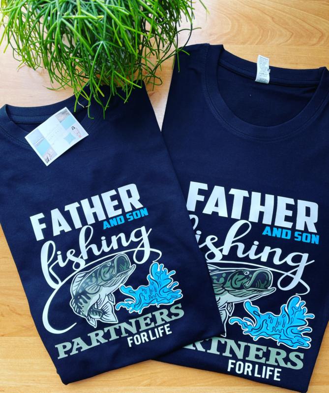 Fishing partners vader en kind set
