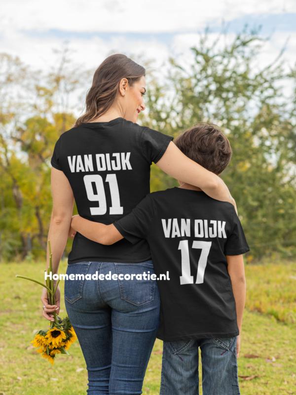 Familie set met naam en nummer moeder kind