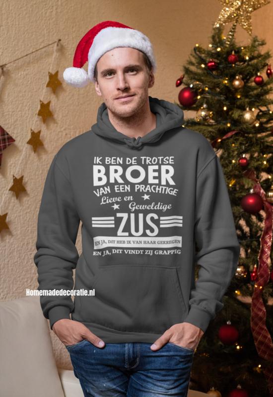 Broer zus hoodie antraciet