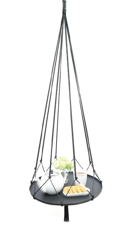 macrame hanger zwart #0901 zwevend bijzettafel (incl. dienblad)