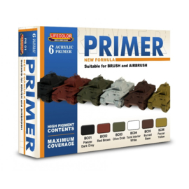 BPS01 Lifecolor New formula Primer set for brush and airbrush (Contains 6 acrylic Primers)
