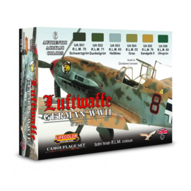 CS06 Lifecolor German WWII Luftwaffe Set 1  (This set contains 6 acrylic colors)