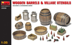 MN35550 1:35 Miniart WOODEN BARRELS & VILLAGE UTENSILS