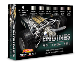 CS51 Lifecolor Engines Metal Color set 3 (Black Base NOT required. The Set Contains 6 acrylic colors)