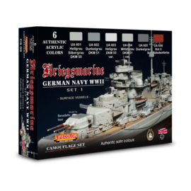 CS09 Lifecolor LifeColor German WWII Kriegsmarine Set 1  (This set contains 6 acrylic colors)