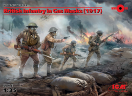 ICM35703 1:35 ICM British Infantry in Gas Masks (1917) (4 figures)New Molds