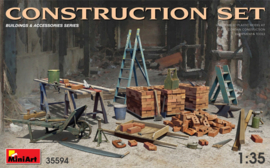 MN35594 1:35 Miniart Construction Set Ladders, Table, Buckets, Bricks, Cart, Anvil, Beams, Jack Stand & Tools