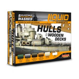 """LP04 Lifecolor Liquid Pigments """"wash"""" Hulls and wooden decks set (6x22ml)"""