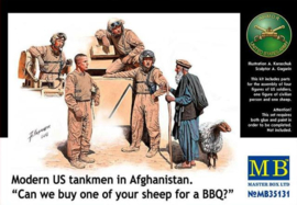 "MB35131 1:35 Masterbox Modern US tankmen in Afghanistan. ""Can we buy one of your sheep for a BBQ?"""