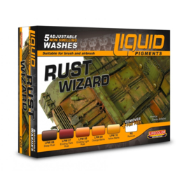 LP02 Lifecolor Liquid Pigments Rust Wizard (This set contains 5 Acrylic washes and a bottle of remover)